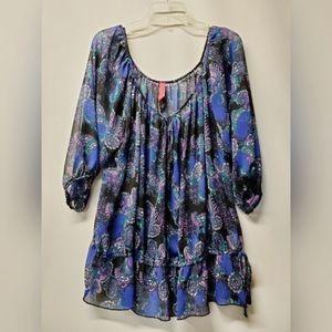 Sheer paisley print blouse